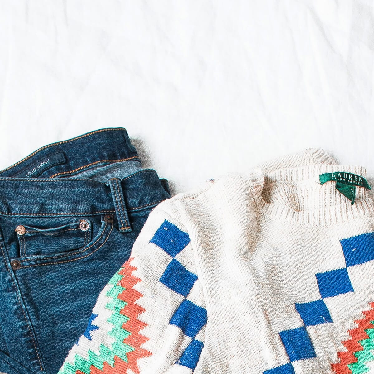 blue jeans and white ralph lauren sweater