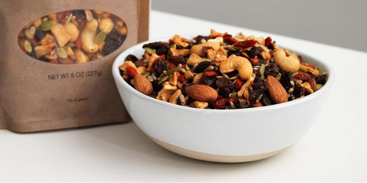 bowl of pubilc goods mixed nuts and goji berries