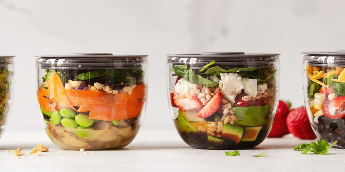 food stored inside two glass bowls
