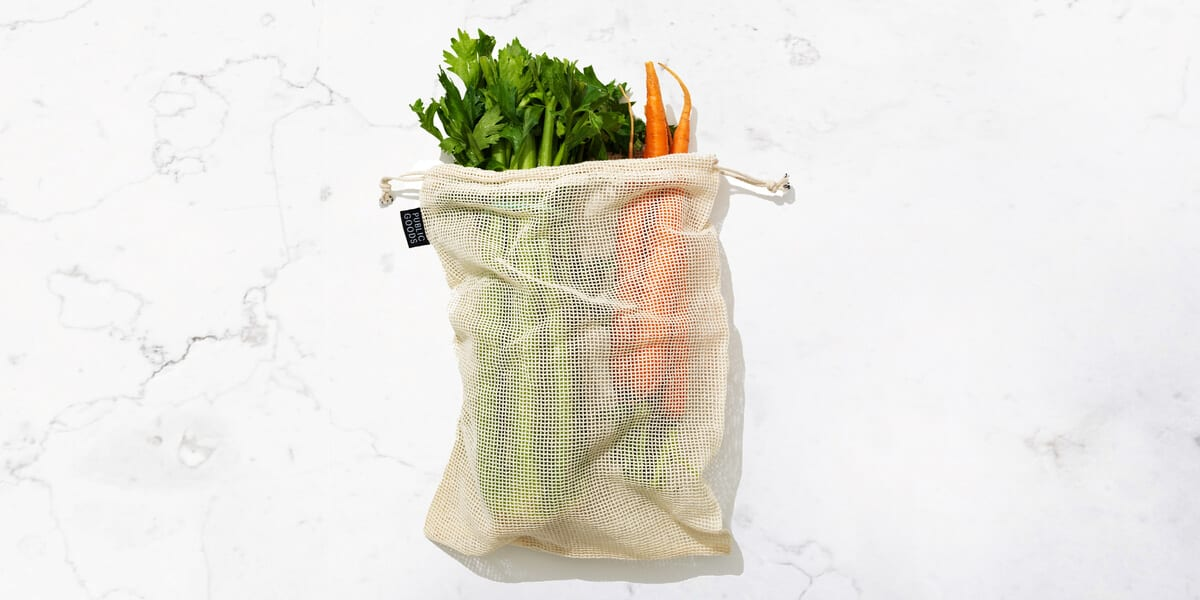 vegetables in a cotton bag