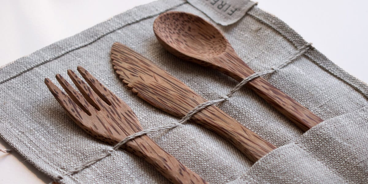 bamboo utensils in a cloth