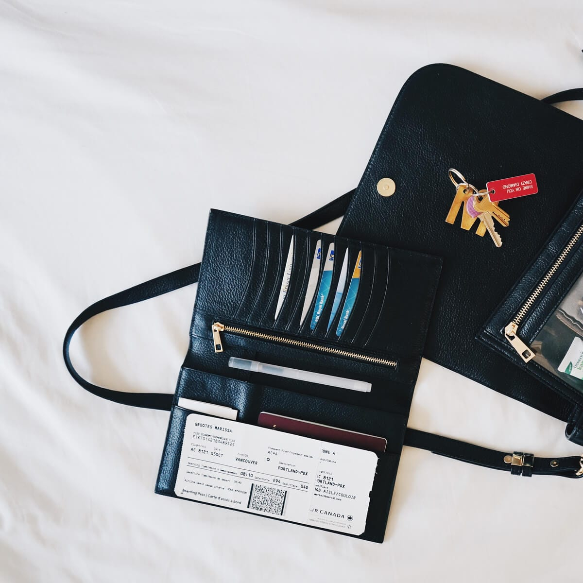 black wallet and black purse with airplane ticket,credit cards and keys