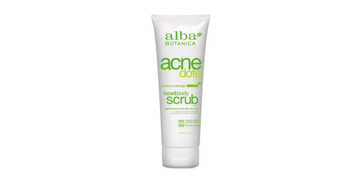 tube of alba botanica acne dote face and body scrub