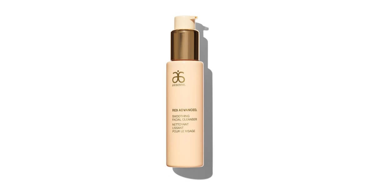 bottle of arbonne re9 advanced smoothing facial cleanser