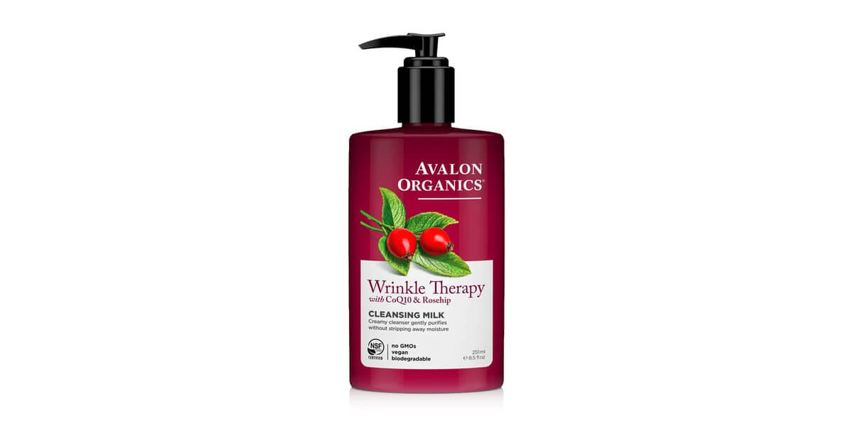 bottle of avalon organics wrinkle therapy cleansing milk