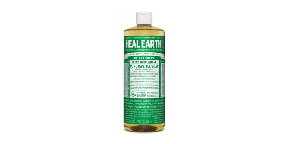 bottle of dr bronners hemp almond pure castille soap