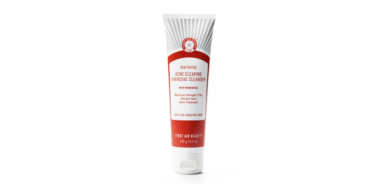 tube of first aid skin rescue acne clearing characol cleanser
