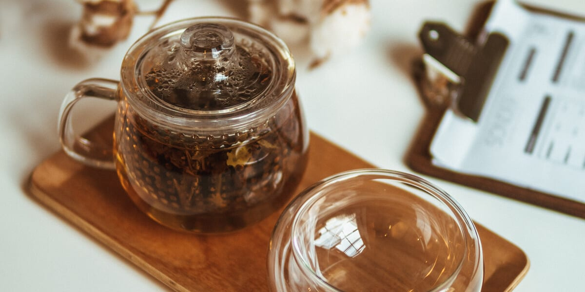 tea infusions in a glass jar