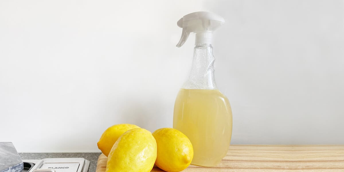 spray bottle of apple cider vinegar, lemons