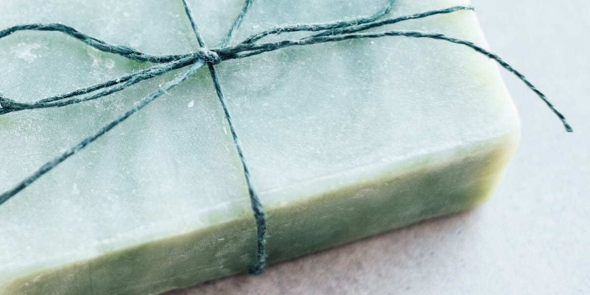 blue bar soap tied with string