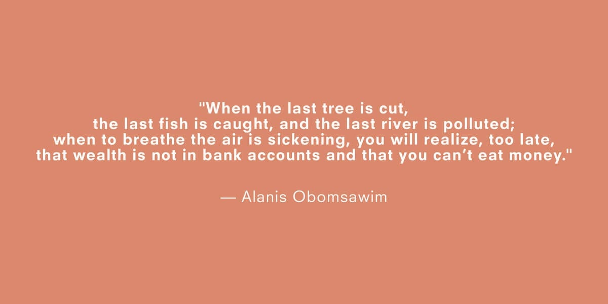 a quote about climate change by alanis obomsawim