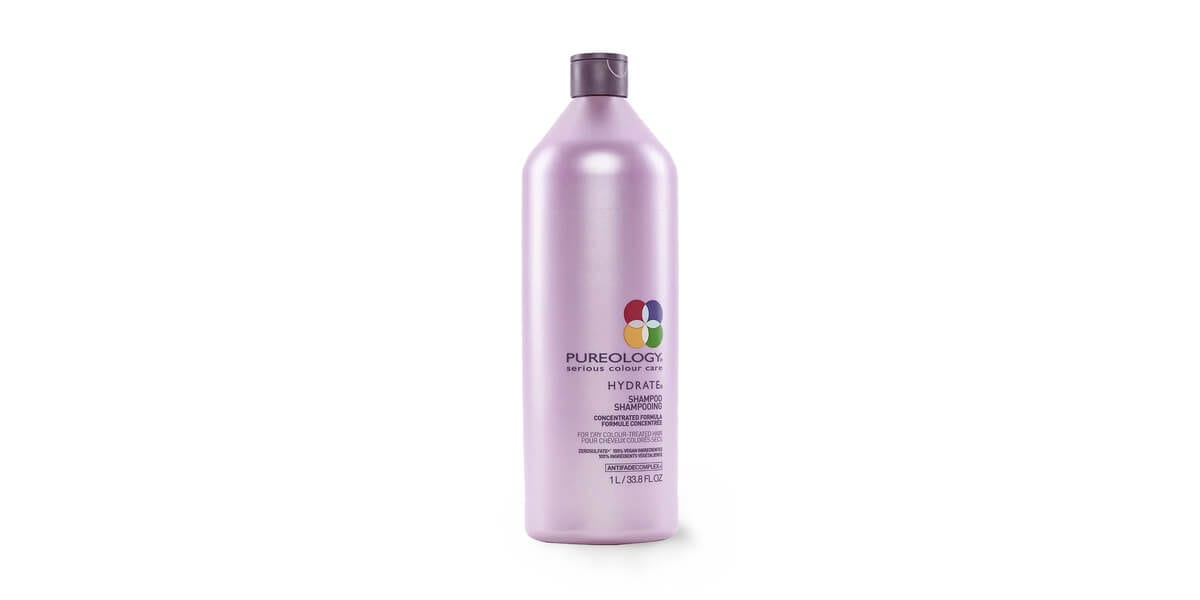 bottle of pureology serious colour care hydrate shampoo