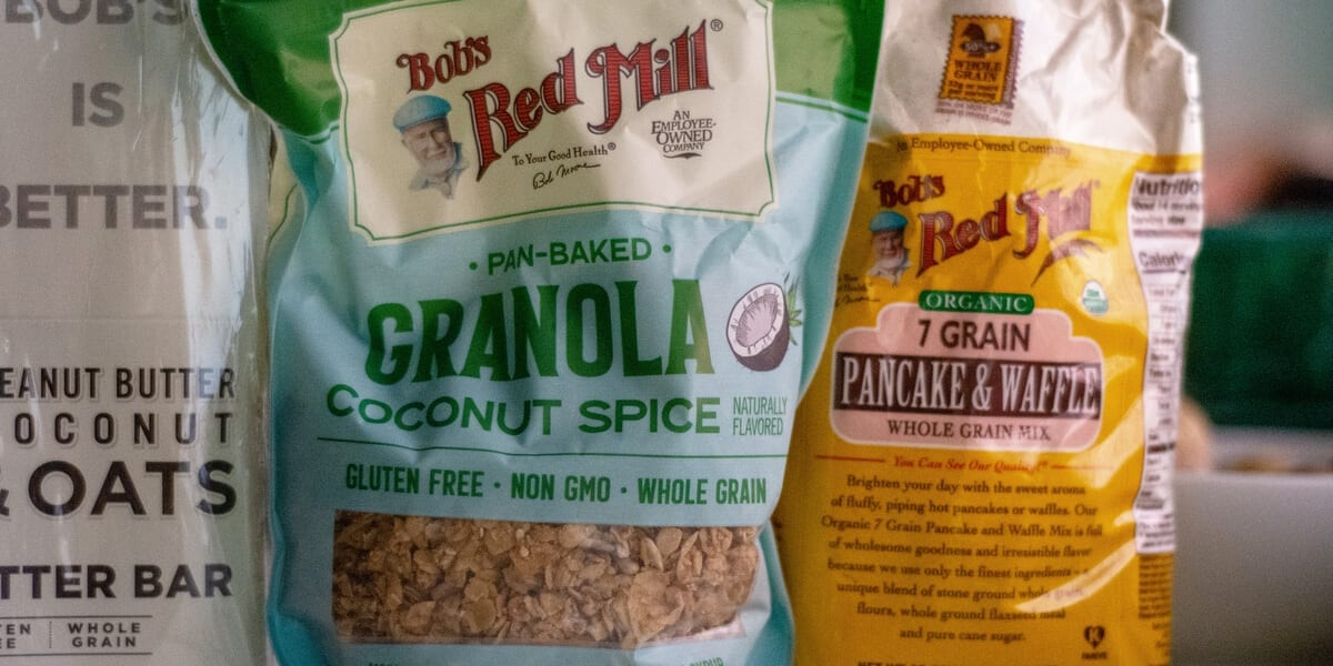 bag of bobs red mill granola, bag of bobs red mill pancake and waffle whole grain mix, peanut butter and oats bar