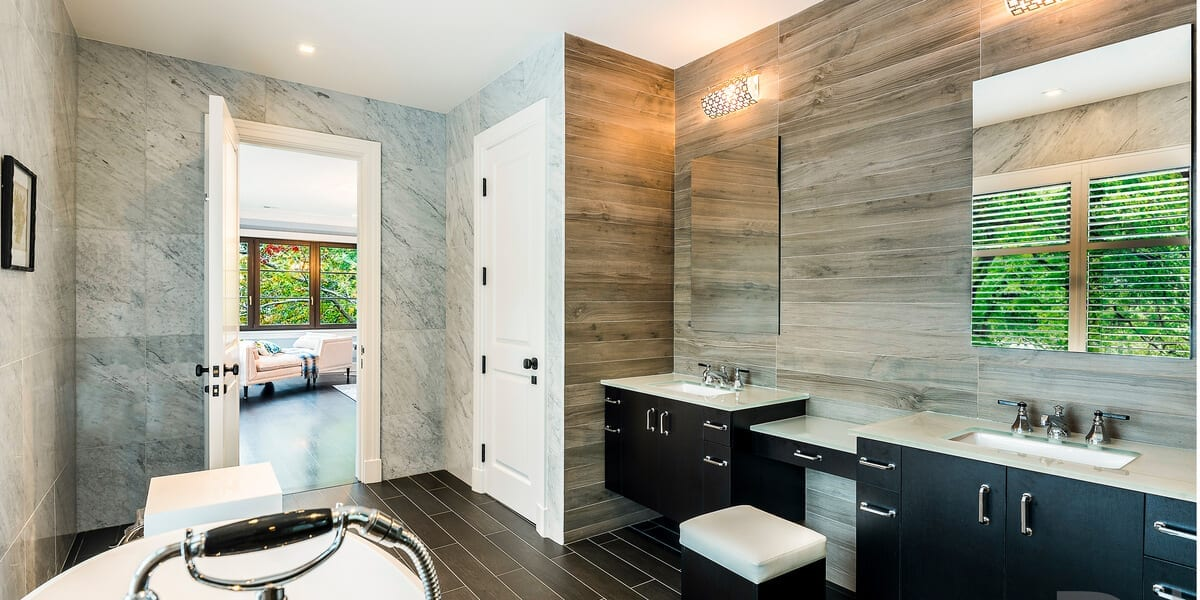 recycled wood wall covering and slate wall coverings in the bathroom
