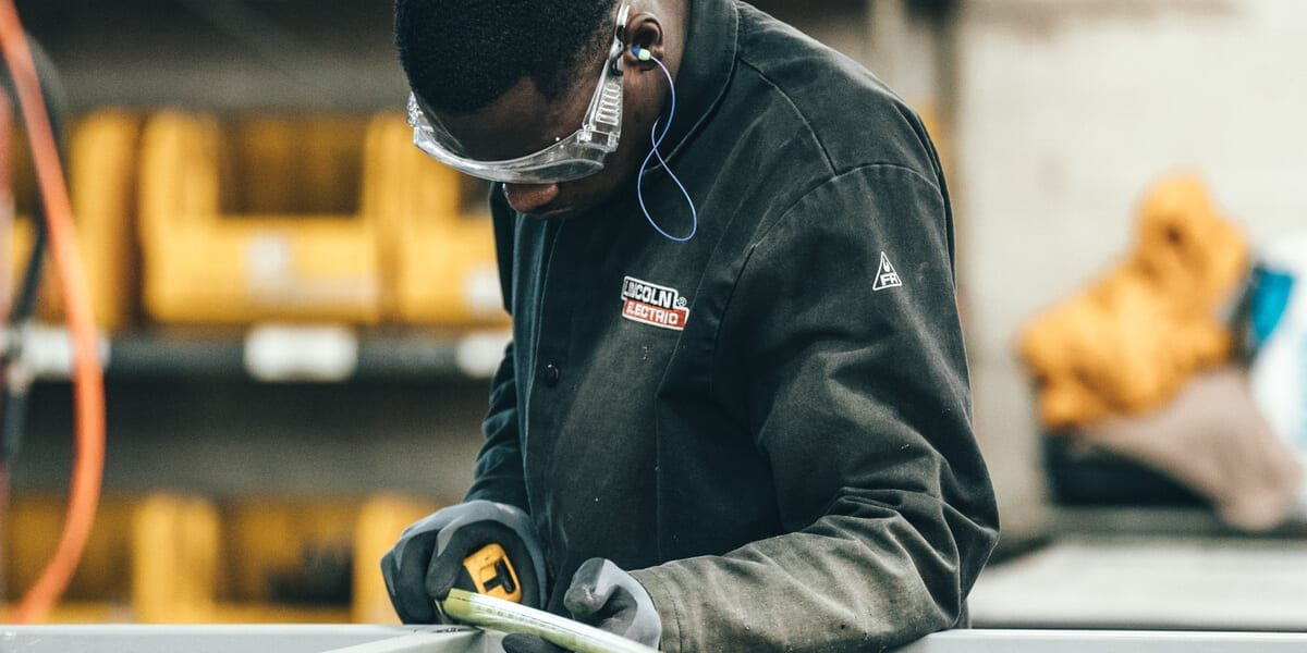black man working in a factory