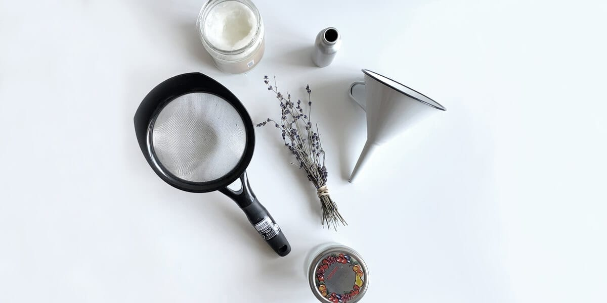 funnel, glass jar, strainer, lavender