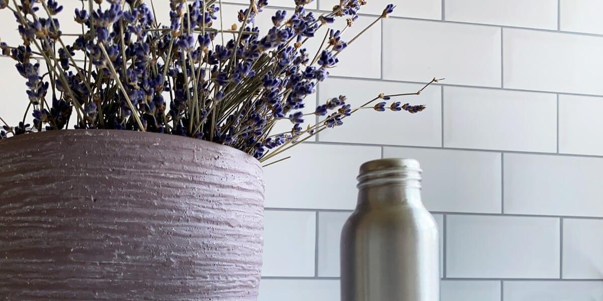 metal bottle, pot with lavender