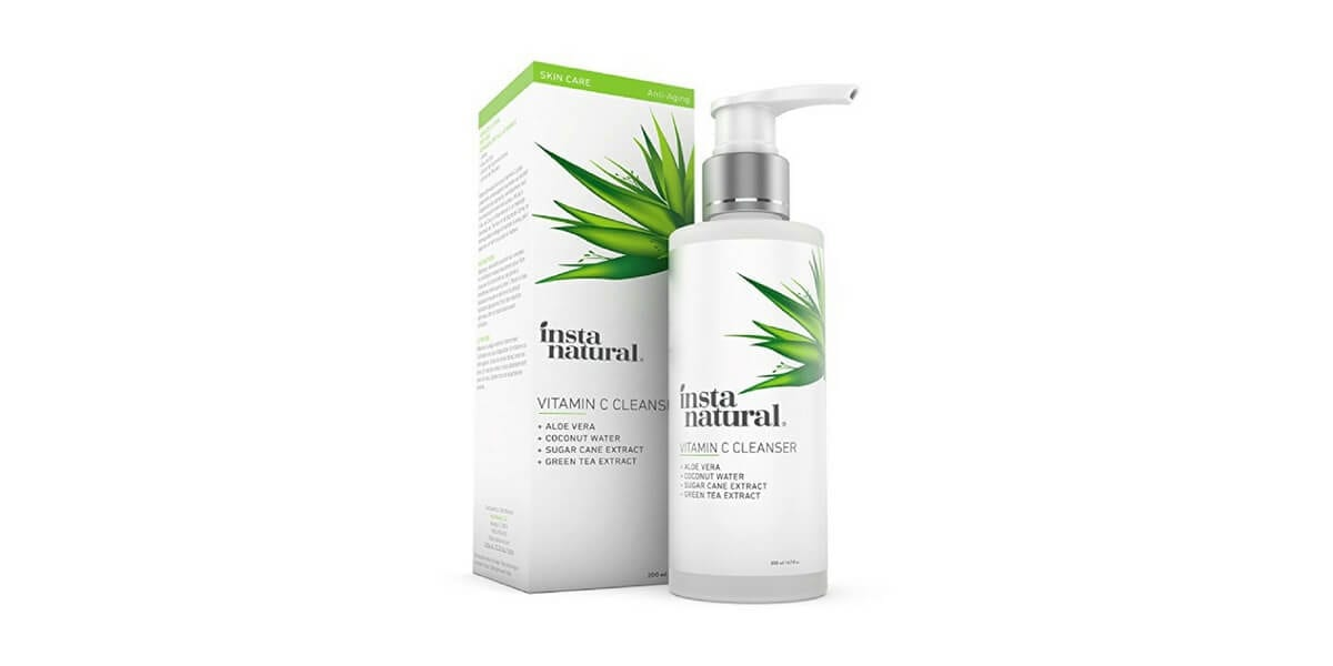 bottle of instanatural vitamin c cleanser next to packaging