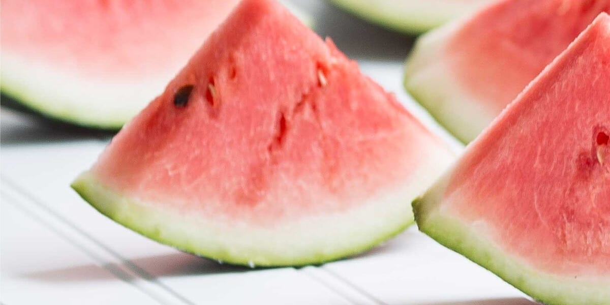 pieces of sliced watermelon with seeds