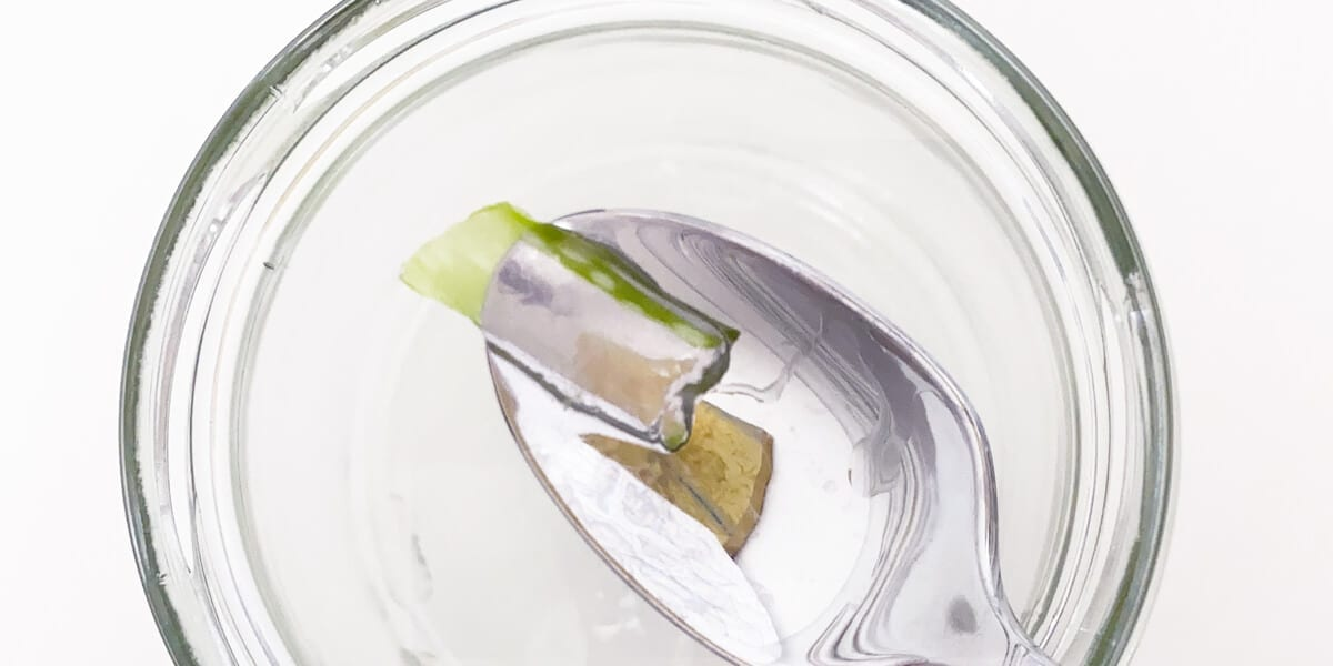 spoon scooping aloe vera gel and leaf out of glass jar