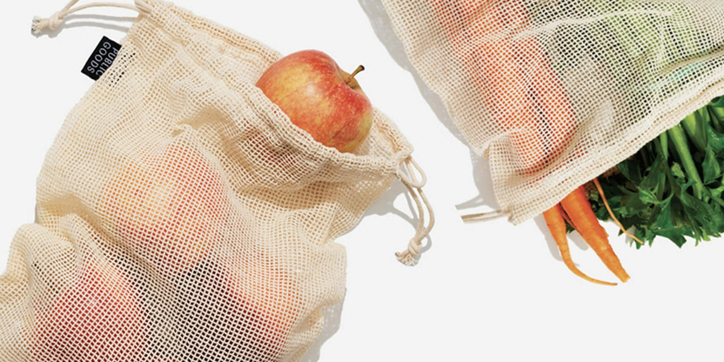 fruit and vegetables in public goods mesh bags