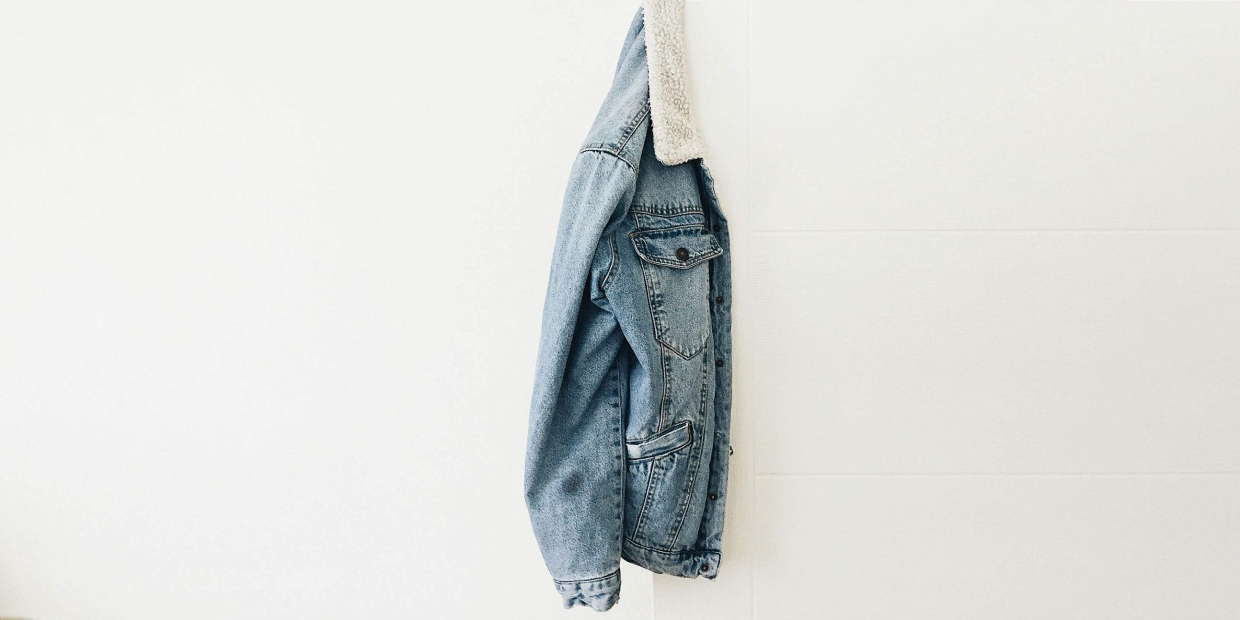 blue denim jacket hanging