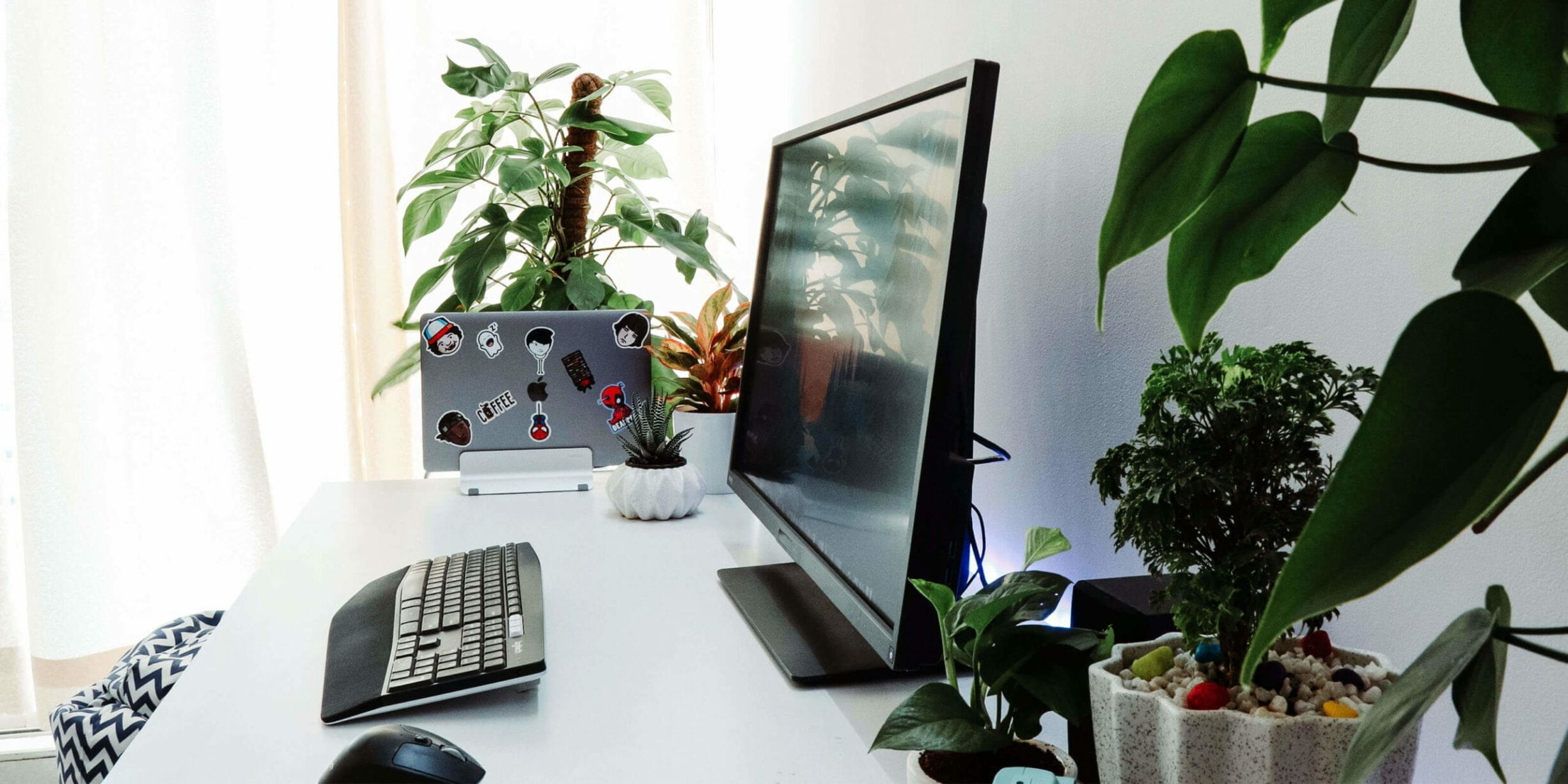 computer on a desk, laptop in a holder surrounded by plants