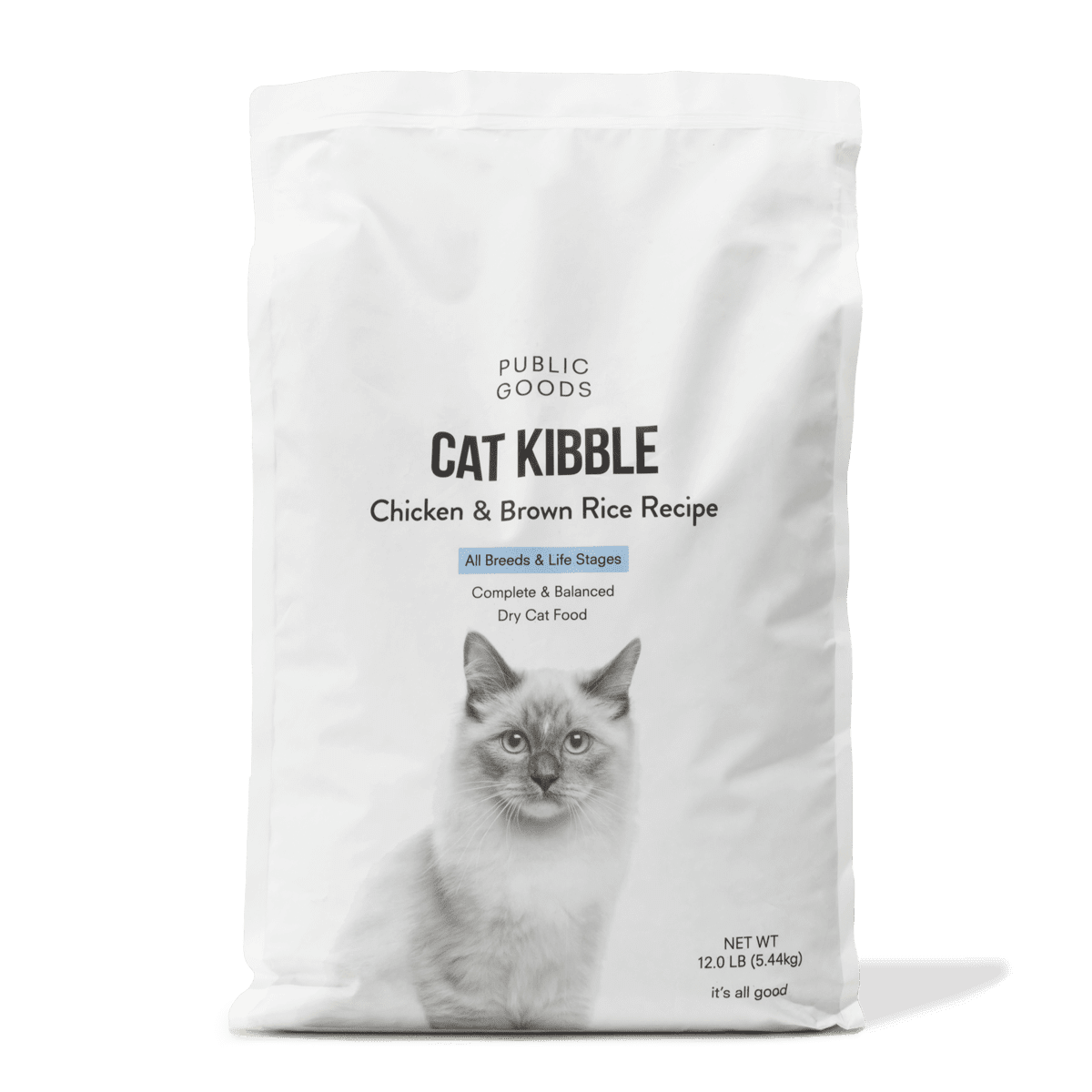 bag of chicken and brown rice cat kibble
