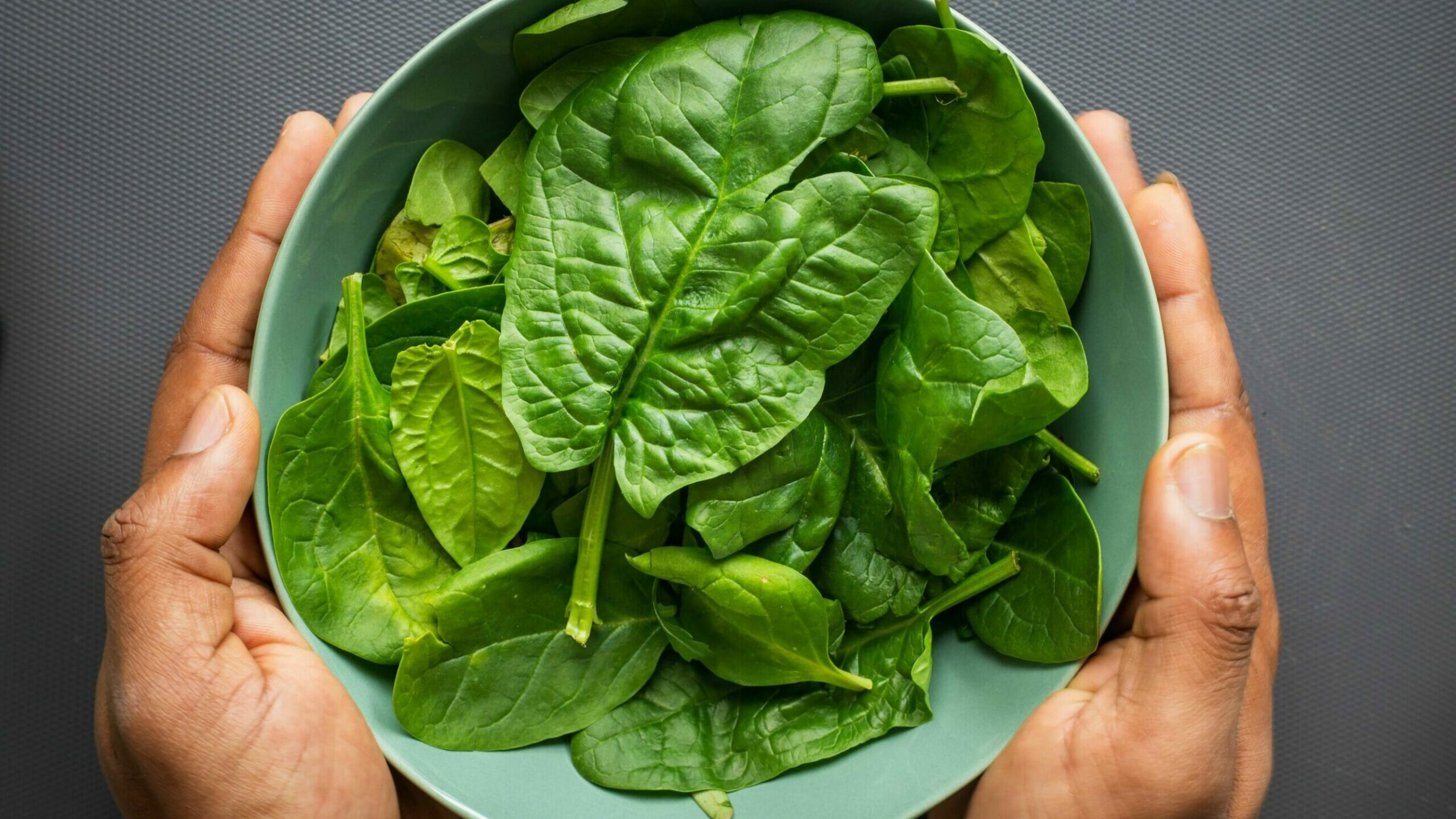 hands holding a bowl of spinach