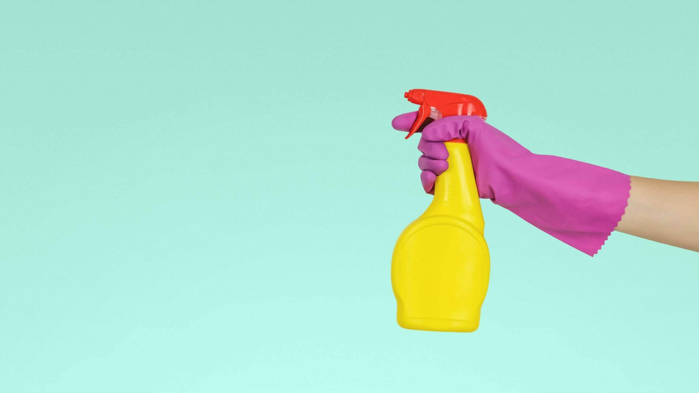 gloved hand holding a cleaning spray bottle