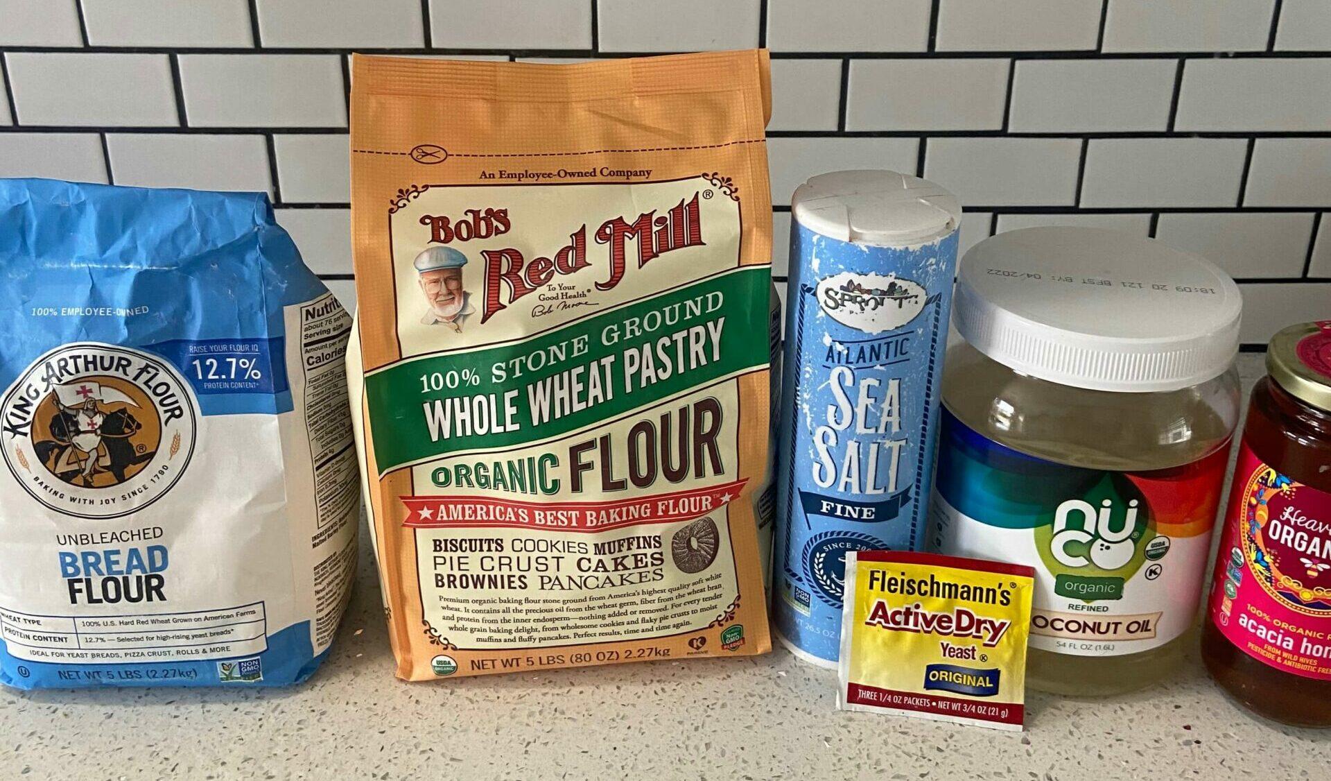 white flour, whole wheat flour, sea salt, coconut oil, active yeast