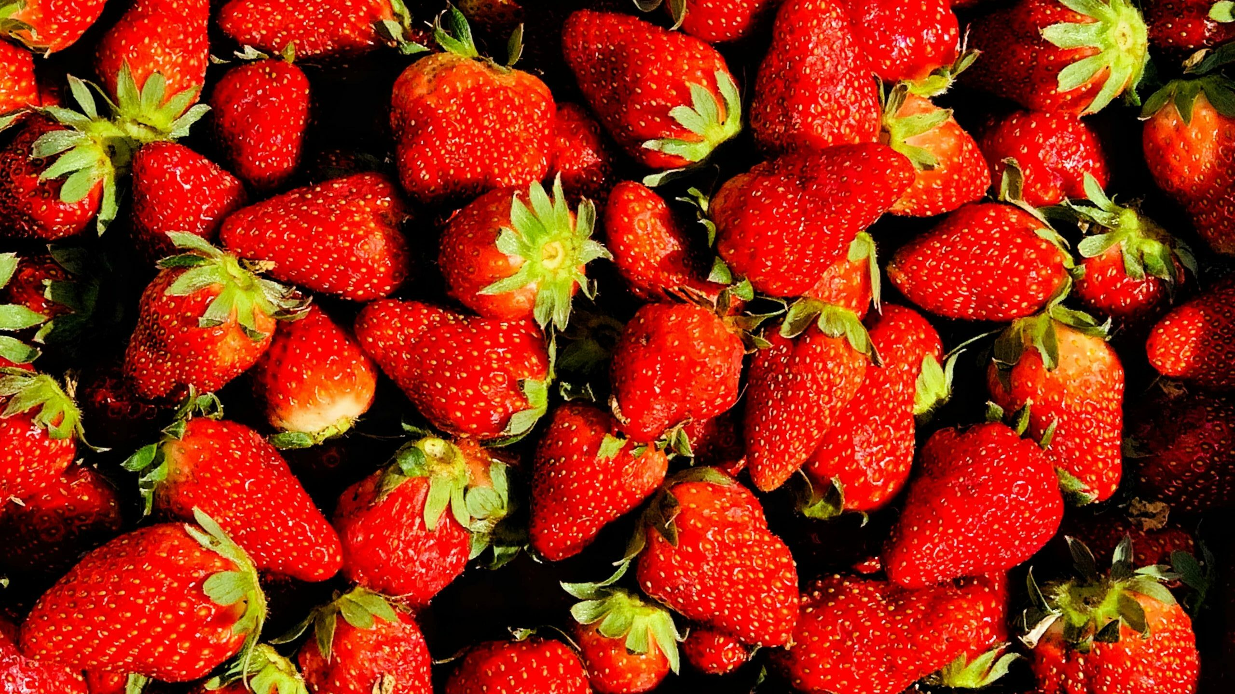 assortment of red strawberries