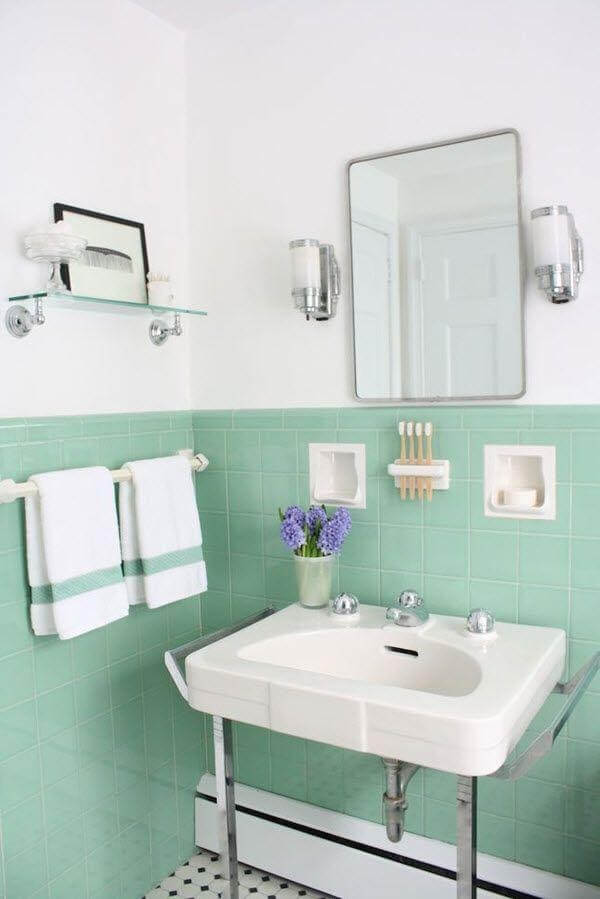 bathroom with a pale green and silver theme (1)