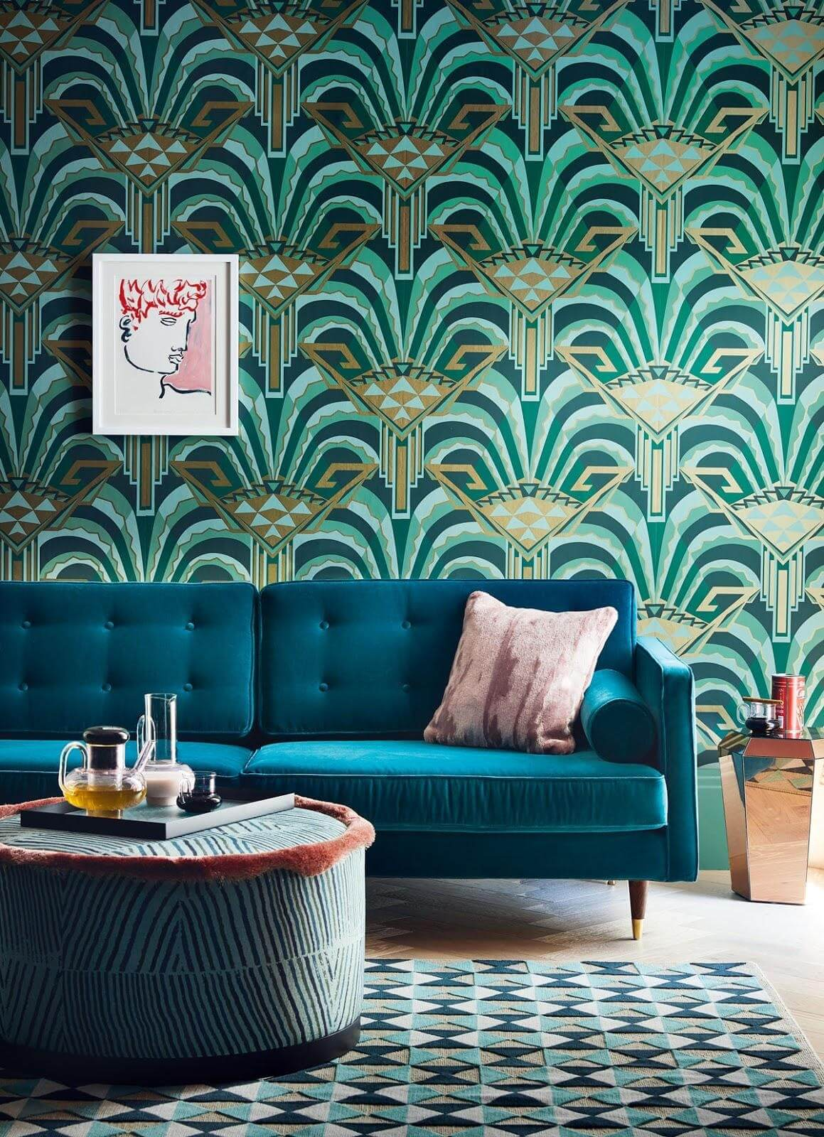 blue and green patterned themed living room