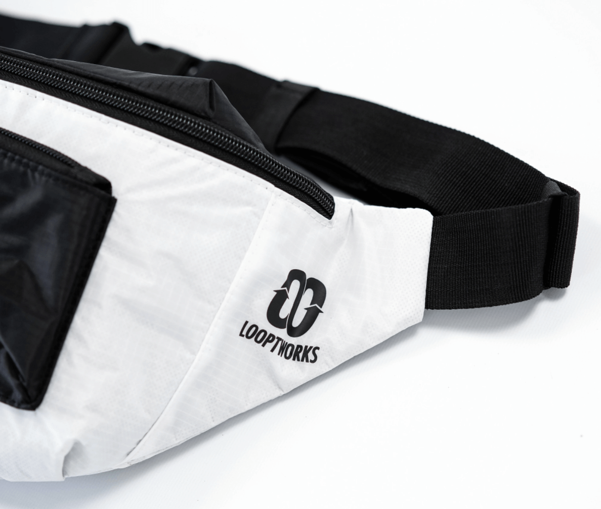 black and white looptworks bag