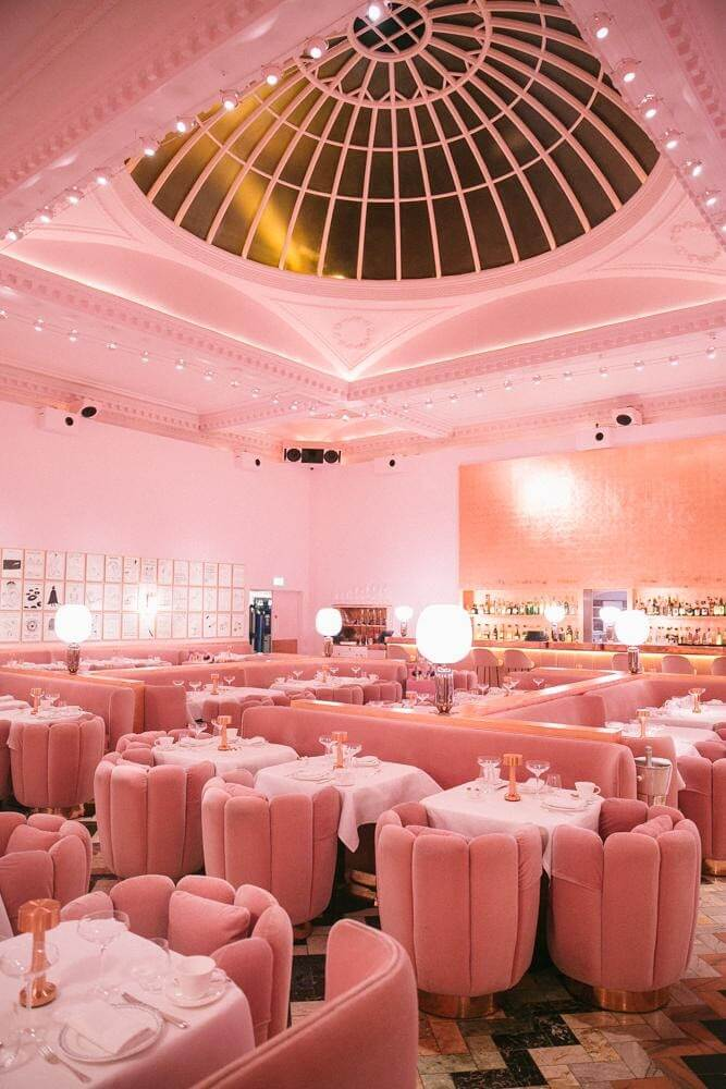pastel pink hotel tea room in an art deco style (1)