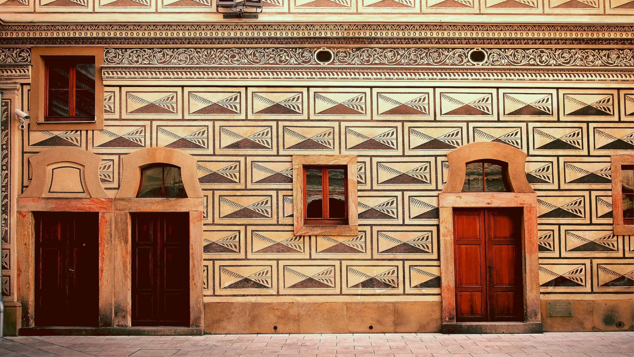 wood lacquer door in prague
