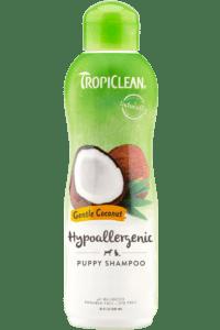 bottle of tropiclean dog shampoo