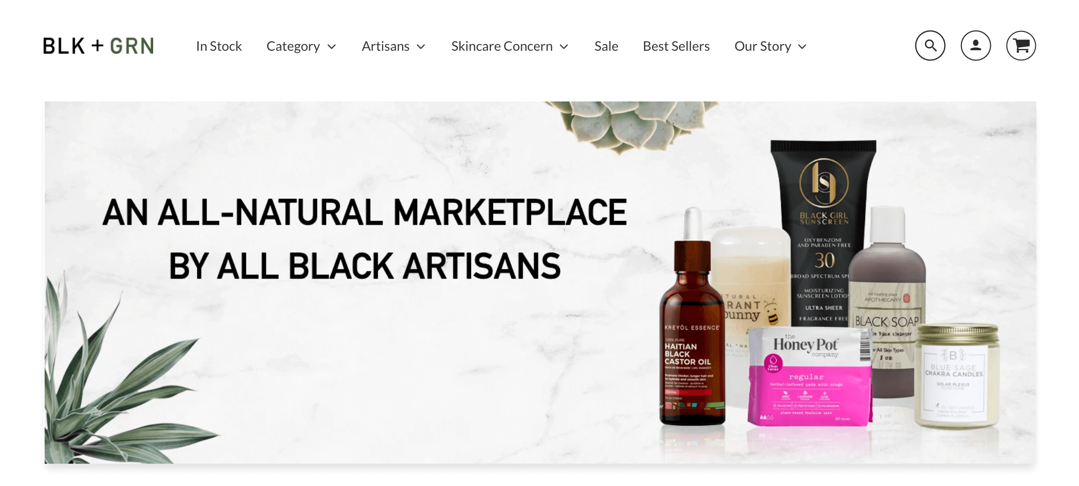blk and grn website screenshot