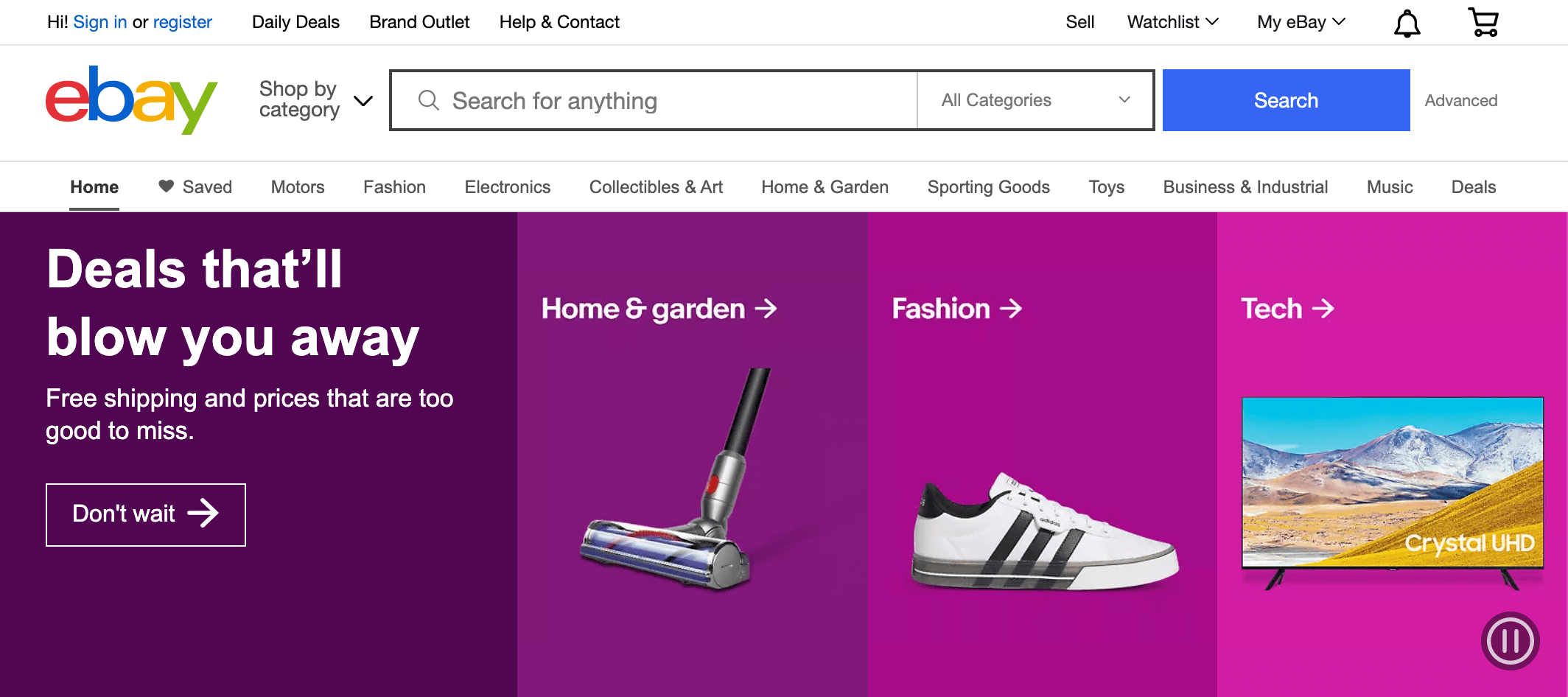 screenshot of ebay website