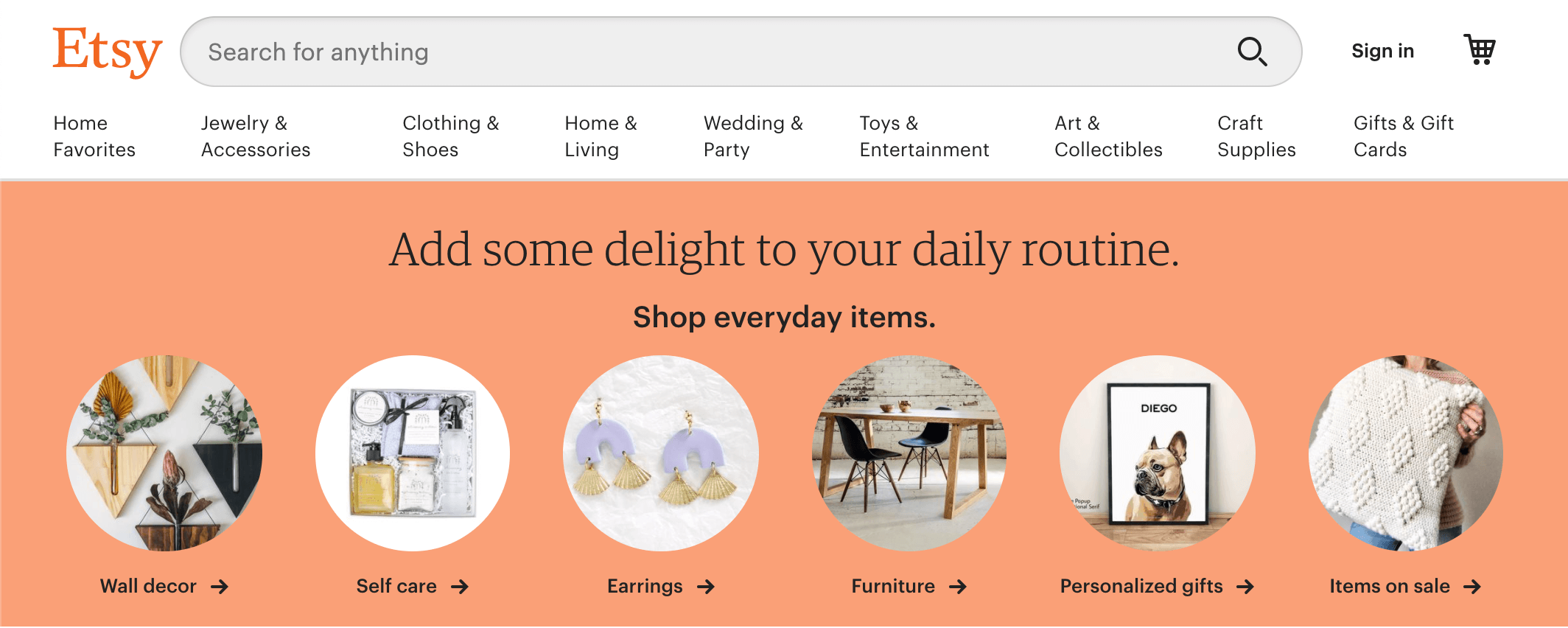 screenshot of etsy website