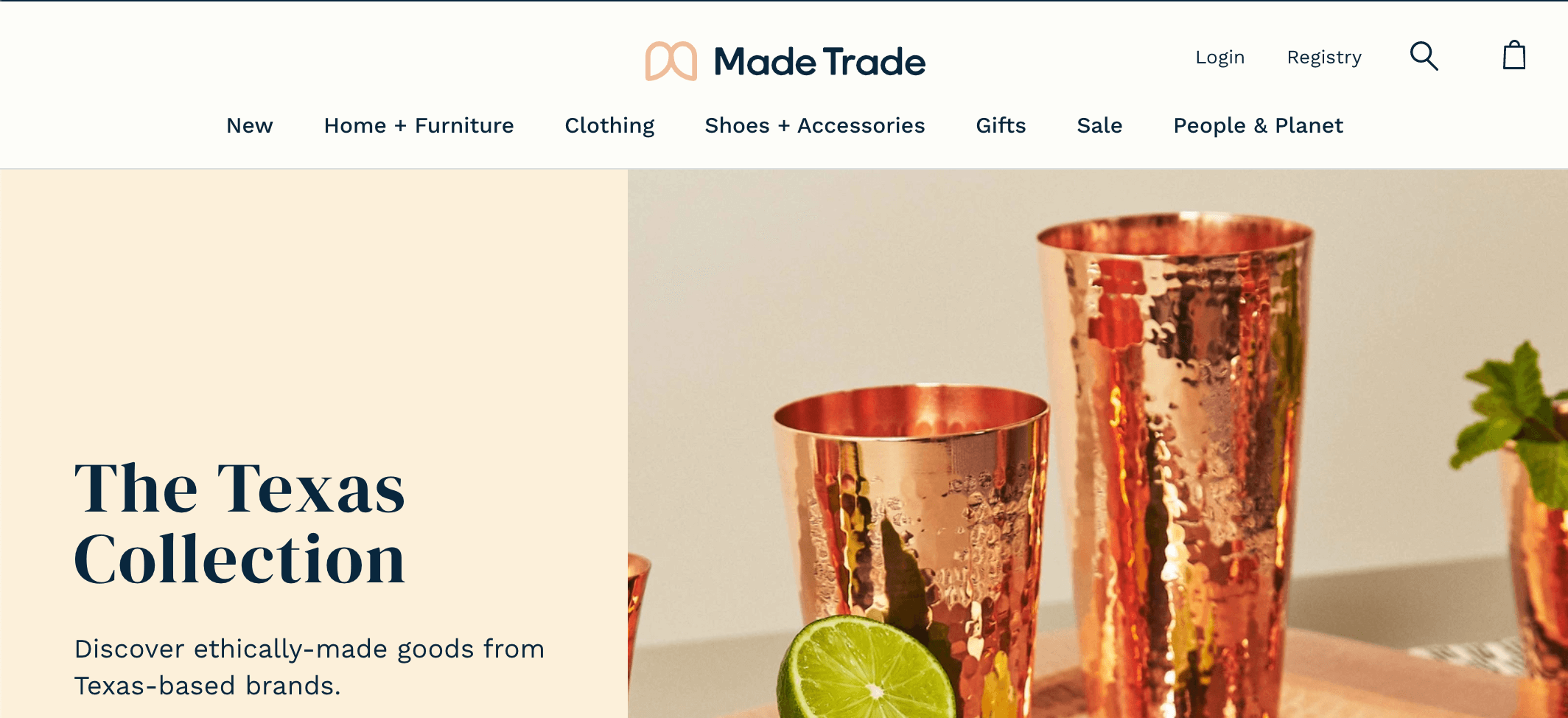 screen shot of made trade website