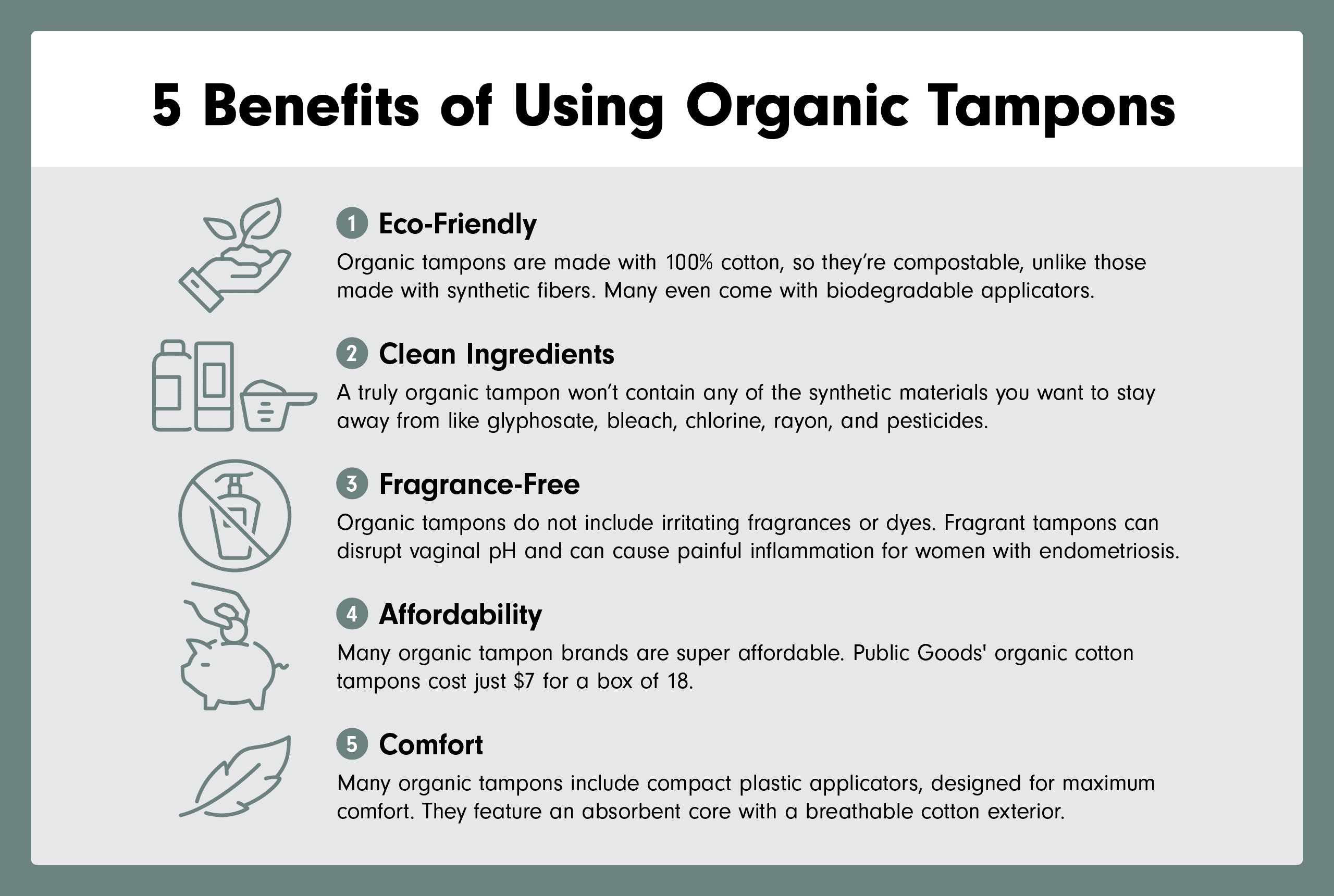 infographic of the 5 benefits of using organic cotton tampons
